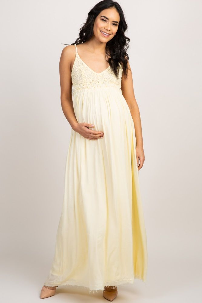 2d7d805580 Yellow Lace Top Pleated Waist Backless Maternity Maxi Dress ...