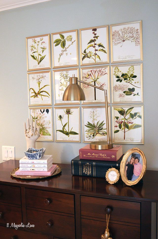 DIY botanical gallery wall in a master bedroom using free floral printables and dollar store frames | 11 Magnolia Lane