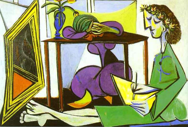 Interior With A Girl Drawing by Pablo Picasso