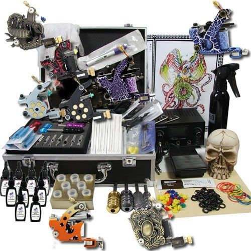 219.99$  Watch now - http://ali7k5.worldwells.pw/go.php?t=362076245 - Professional Tattoo Kits Dual LCD Power 8 Tattoo machines with Grips Needles Tattoo Supply free shipping