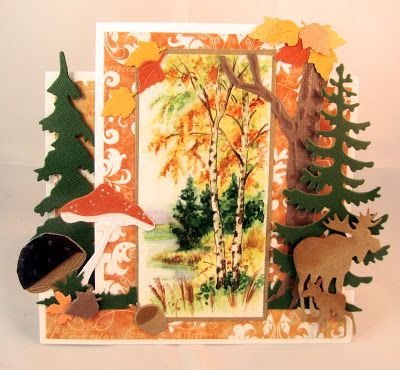 Card by DT member Gudrun with Creatables Mushrooms (LR0372), Acorns and Leaves (LR0373), Elands (LR0377), Spar (LR0378), Den (LR0379), Tiny's Grass (LR0360) and Craftables Tiny's Oak Tree (CR1338) and Punch Die Autumn Leaves (CR1336) by Marianne Design
