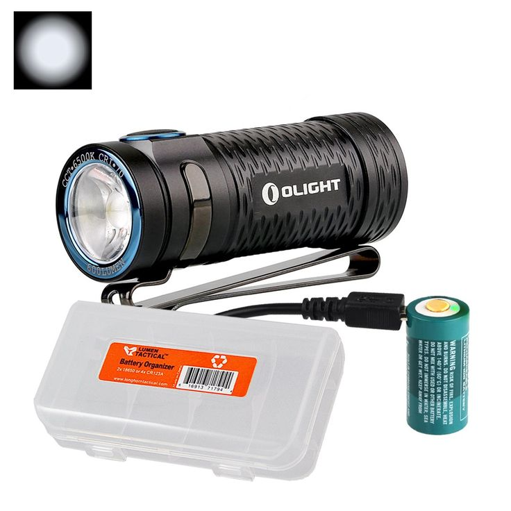 Olight S1 Mini Baton 600 Lumens Ultra Compact Rechargeable LED Flashlight with LumenTac Battery Organizer (Cool White)