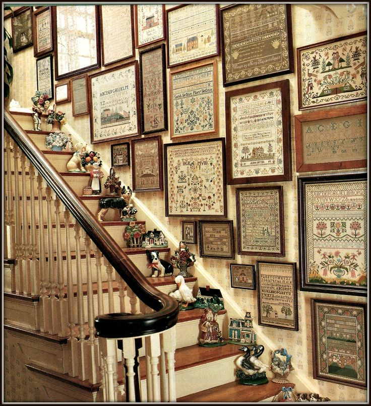Staircase ....Samplers & Doorstops and More Displayed!  www.hicketypickety-sonjasandell.blogspot.com