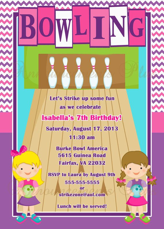 101 best Birthday Invitations images on Pinterest Anniversary - bowling invitation template
