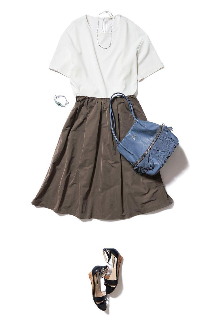 秋カラーのスカートで夏コーデのマンネリ回避! ― B