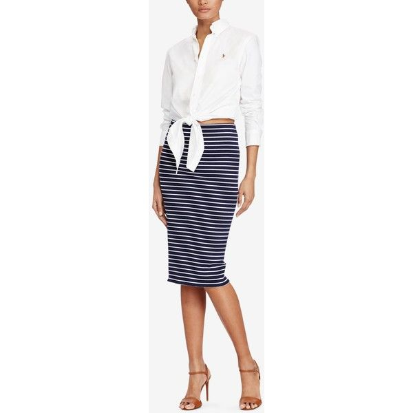 Polo Ralph Lauren Striped Rib-Knit Pencil Skirt (€115) ❤ liked on Polyvore featuring skirts, newport navy, white pencil skirt, white knee length skirt, ribbed pencil skirt, white knee length pencil skirt and polo ralph lauren