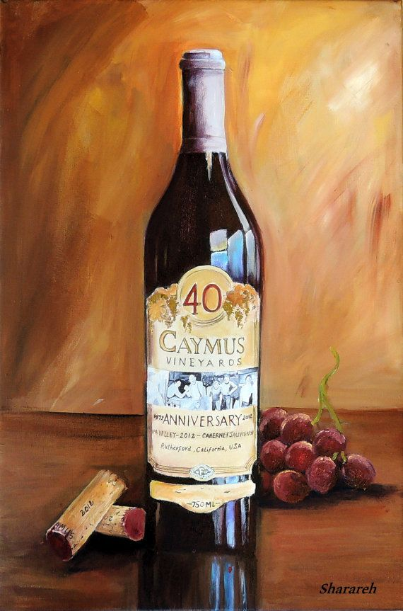 Caymus wine painting, Caymus 40th anniversary wine bottle with grapes and corks Limited edition giclee on canvas, unique gift