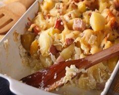 Gratin de pommes de terre au jambon et reblochon
