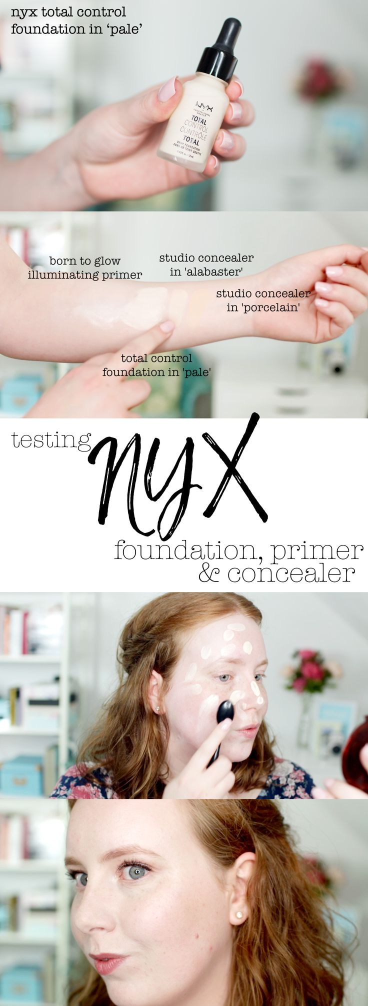 I recently tried out some base products from NYX, including Born to Glow Illuminating Primer, the Total Control Foundation in 'Pale' (their lightest shade, and probably the lightest foundation I've ever seen), and their Studio HD Concealers in Alabaster and Porcelain. Definitely #redheadapproved! Give the video a watch to see what I think.  #swatches #nyx #paleskinmakeup #foundation #makeup #palefoundations