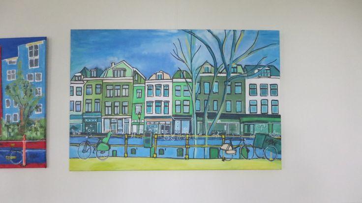 moderne kunst van Utrechtse gracht, groot doek, 100x80cm