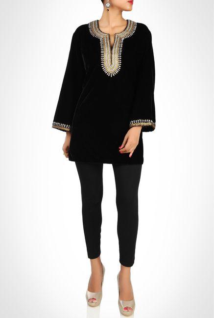 Sulu Designer Wear Black Velvet Kurti By Kimaya