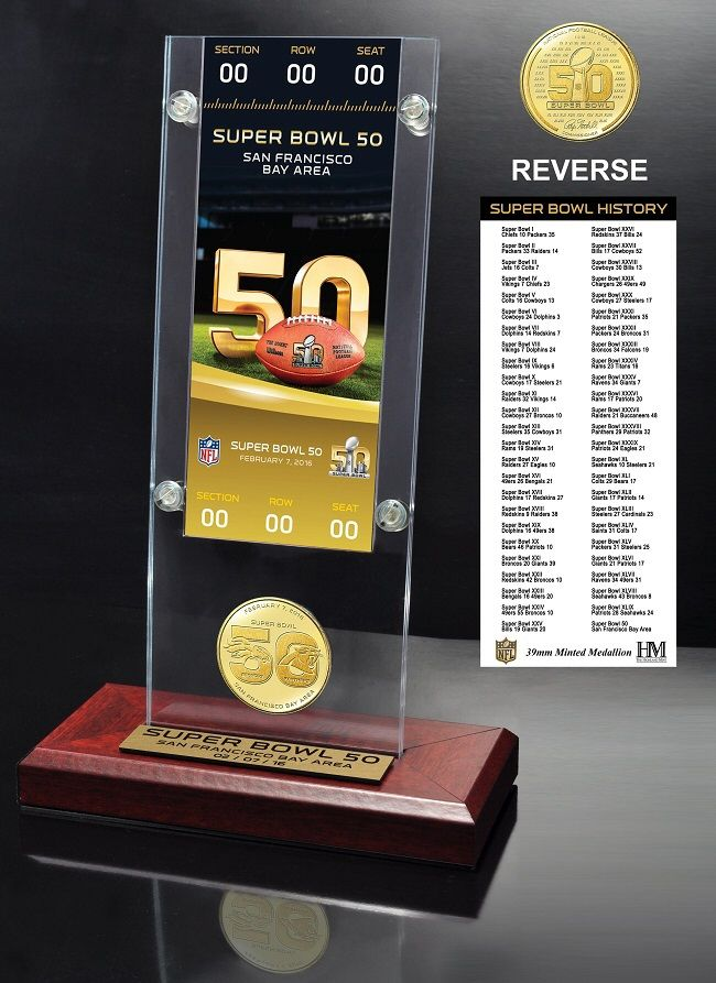 Super Bowl 50 Ticket & Bronze Flip Coin Acrylic Desk Top. Celebrate 50 years of the Super Bowl with this licensed flip coin. #SuperBowl50 #Broncos #Panthers #FlipCoin #HighlandMint