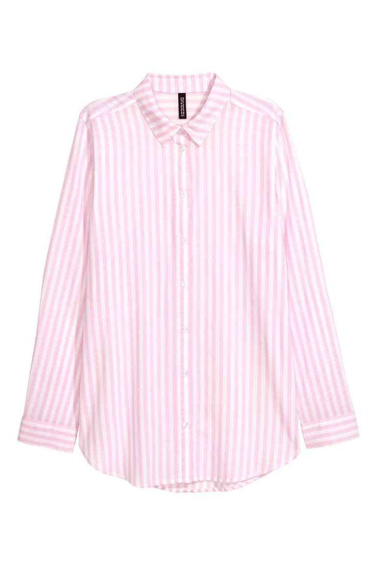 Katoenen hemd - Roze/Gestreept - DAMES | H&M BE