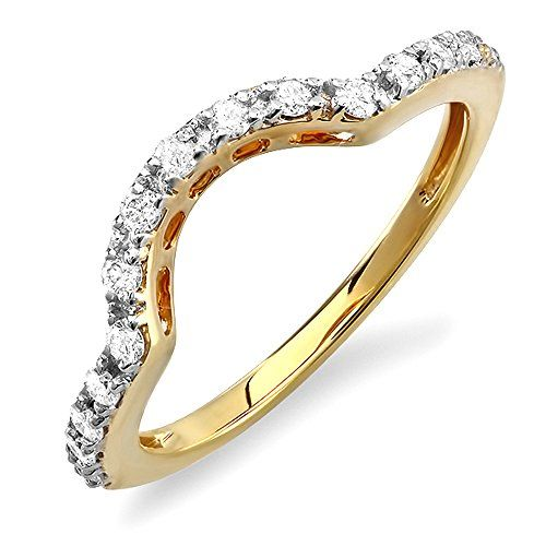 033 Carat ctw 14k Yellow Gold Round Diamond Ladies Anniversary Wedding Guard Enhancer Band 13 CT Size 85 * Find out more at the image link.