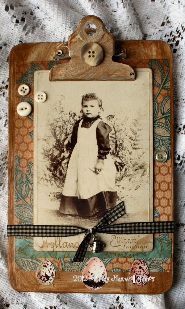 Sweet Keeper Mini Altered Clipboard #handmade 6 x 9 using old cabinet photo. $9.95, via Etsy.