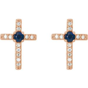Rose Gold Blue Sapphire & Diamond Cross Earrings | Click through for product details OR to locate a jeweler near you! #Easter