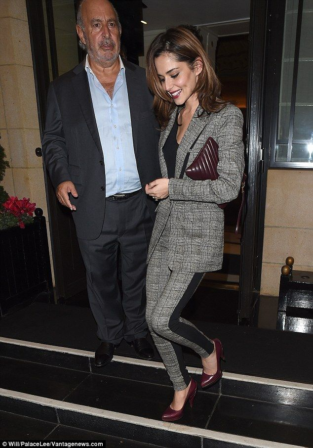 Plenty to chat about: Cheryl Fernandez-Versini dined out with Topshop boss Sir Philip Green at the Dorchester Hotel in London on Wednesday night