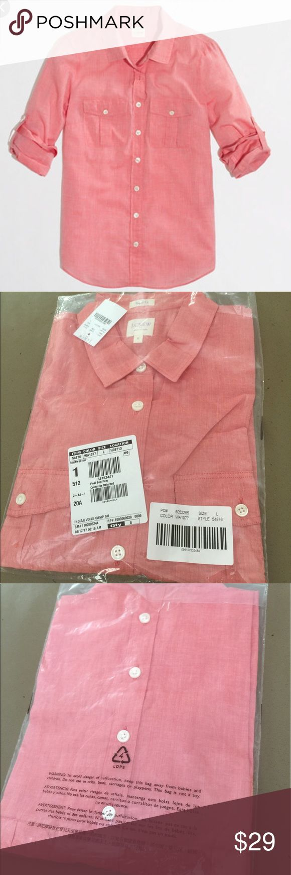 J Crew Long Sleeves Polo shirt Brand new from j crew factory. Strawberry color J. Crew Tops Button Down Shirts