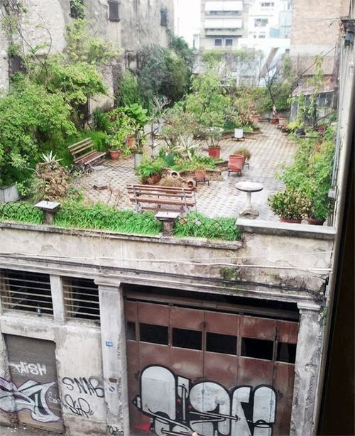Inspriational use of a rundown urban space. Relates to concept of urban gardens bursting through the more overbearing architetural canopy of a city. Cities and jungles?? RCL