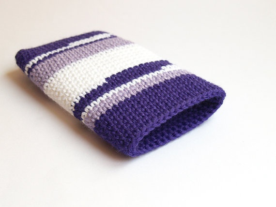 Purple cotton crochet Iphone case by SILAYAYA on Etsy, $15.00