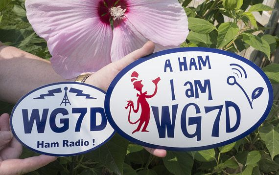 CQ CQ CQ ! de WG7D  Custom call sign MAGNETIC decal Ham I AM !  Summer sale!!... Buy a 6X9 inch HAM-I-AM sticker and get a free 4X6 inch custom call sign oval (non-magnetic)in the same color!  Our vinyl is a 7-year, cast vinyl, custom formulated for sign use. Vinyl is great for general purpose interior/exterior graphics, has an outdoor lifespan of up to 7 years and is Made in USA.  During checkout put your Call Sign name the Notes to Seller section  Note: Colors may vary slightly due to ...