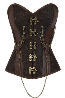 2017 hot 14 Steel Bone Steel Bone Overbust Corset  Hourglass Chained  Brown Steampunk Corset  Espartilhos E Corpetes LC50014