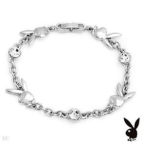 Playboy Bracelet Bunny Logo Swarovski Crystals Silver Plated Chain Link by…
