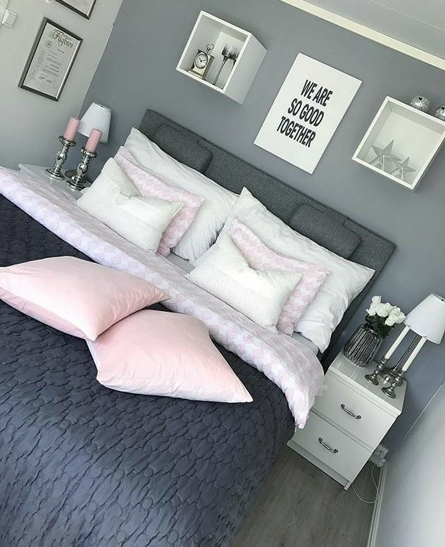 Love the use of grey's in this room! The pops of pink make it very girly and…