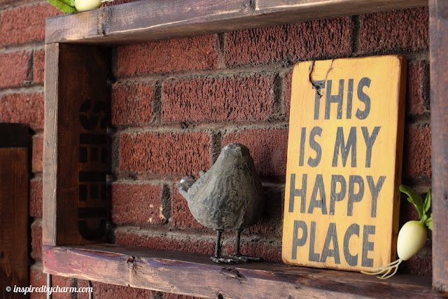 Super cute sign 'this is my happy place' created by South of Main Street! Outdoor shelves created by Inspired by Charm.Crafts Ideas, Shelves Create, Inspiration By Charms, Happy Places, Outdoor Signs, Outdoor Shelves, Maine Street, Main Street, Places Signs