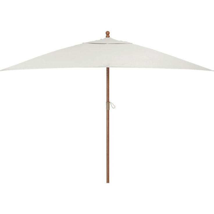 Rectangular Sunbrella ® White Sand Umbrella With Eucalyptus Frame | Crate  And Barrel