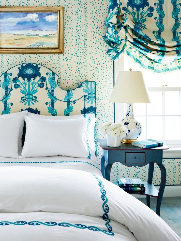 Room of the Day - wonderful mix of blue and white - Christopher Maya in House Beautiful 3.24.2016