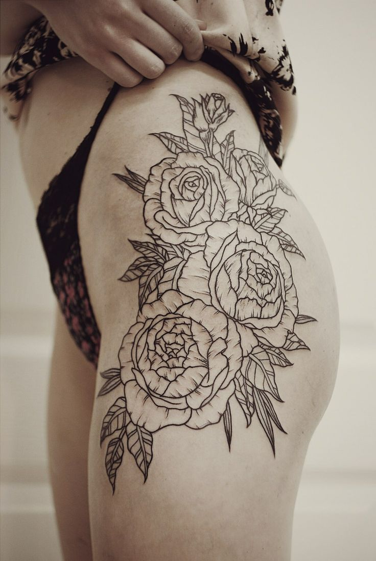 floral hip thigh piece tattoos pinterest girls design and what i want. Black Bedroom Furniture Sets. Home Design Ideas