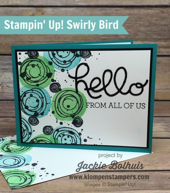 Simple card made using Stampin' Up! SWIRLY BIRD stamp. All the details are on the blog! Created by Jackie Bolhuis, Stampin' Up! Demonstrator. 100's of StampinUp card ideas on blog.