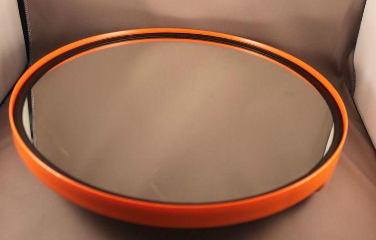 70er Jahre Spiegel Handspiegel ORANGE 70s Hand Mirror Pop Design Chrome Space