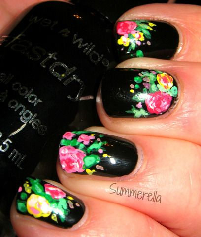 Floral Print Nails.   I love this idea, it would be good for a special occasion or just a regular day. :)