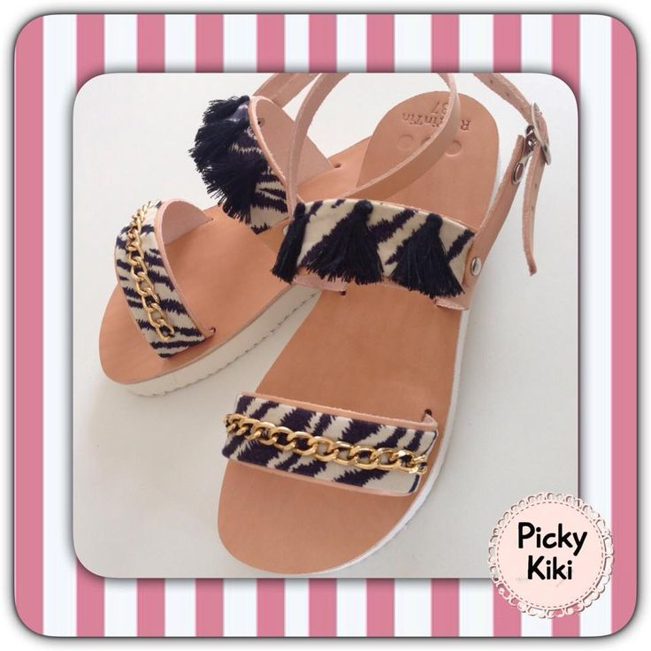 The Summer Collection of Picky Kiki's sandals series 2015 starts with ...  #Mikonos #Islands #sandals!!   Sandals with a white bottom piece of genuine leather, black animal braids, black pompon and a gold chain ~ GIFT: a nail polish! | Picky Kiki