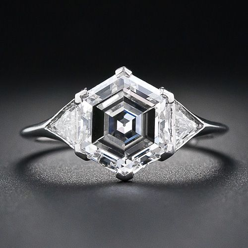 OH MY GAWD: 2.91 Carat Hexagon Diamond Platinum Engagement Ring