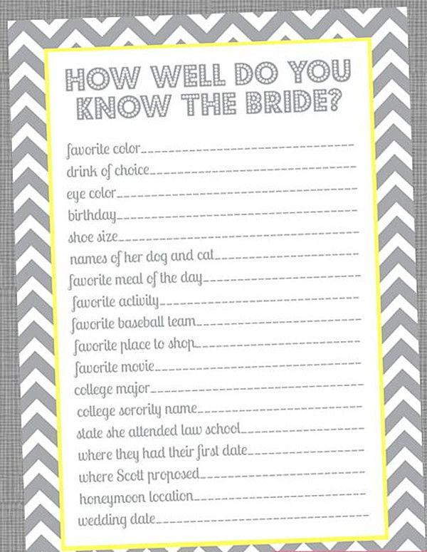 {Special Wednesday} Top 5 Free Printable Bridal Shower Games |another how well do you know the bride :-) @Whitney McKay @Kendra Ferguson