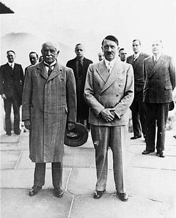 Former British Prime Minister David Lloyd George and German leader Adolf Hitler at Obersalzberg, Berchtesgaden, Bavaria, Germany, 7 Jun 1936; note Ribbentrop in background center