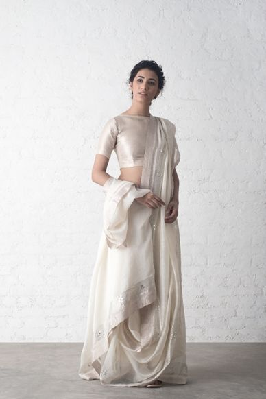 Silver Zari Chanderi Saree