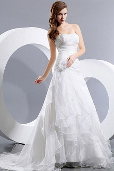 Romantic A-Line Sweetheart Wedding Dresses - Order Link: http://www.thebridalgowns.com/romantic-a-line-sweetheart-wedding-dresses-tbg0562 - SILHOUETTE: A-Line; SLEEVE: Sleeveless; LENGTH: Chapel Train; FABRIC: Organza; EMBELLISHMENTS: Crystal , Flower , Ruched , Ruffles - Price: 159USD