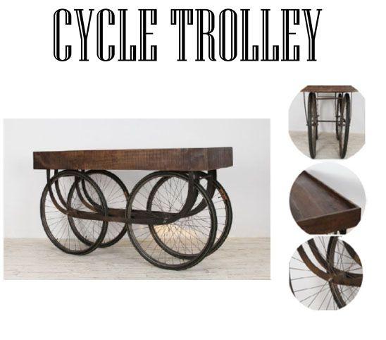 Cycle Trolley. Carro con rueda de bicicleta y cajón de madera de mango. Perfecto para usar como mueble-bar.