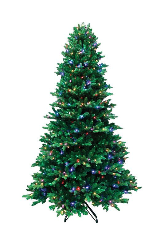 Christmas Trees : Santa's Best 7.5 ft. H Color Changing Prelit Artificial Tree 600 lights 3,214 tips Green