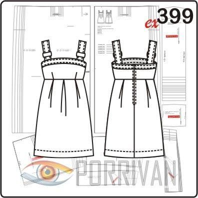 Короткий сарафан. Отличительная особенность модели – бретели с пряжкой. Шить сарафан можно из шёлка, льна, хлопка, тонких, плотных и тёплых тканей.