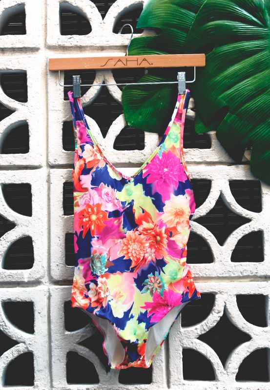 """""""Flowers always make people better, happier and more helpful, they are sunshine food and medicine to the soul. """" Luther Burbank  Beautiful Selene one piece with mesh details at the back.  Find it at www.sahaswimwear.com"""