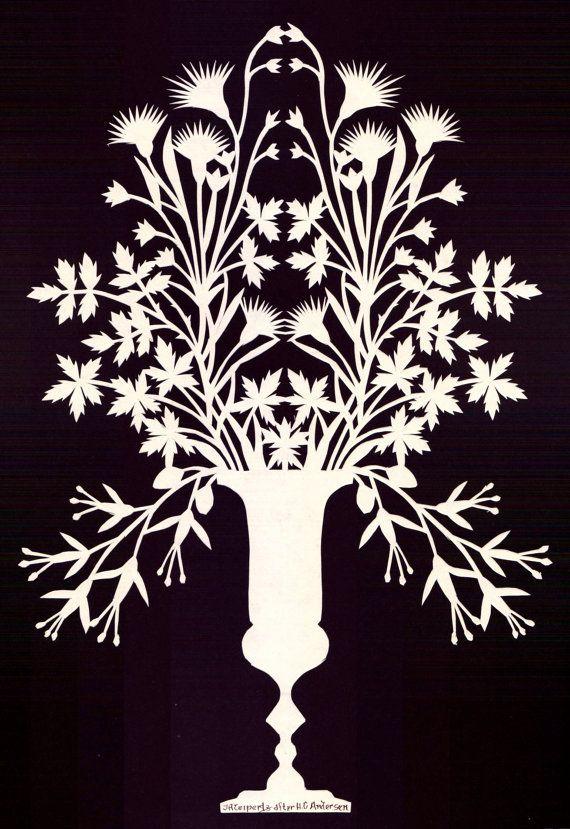 Hand Cut Paper Victorian Flower Vase Decoration by steelbrush...