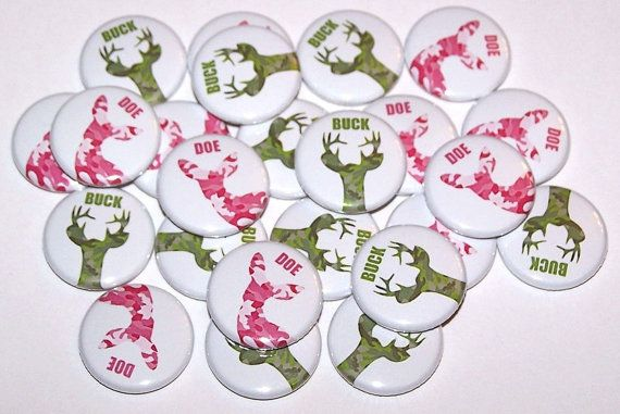 "Buck & Doe Green Camo Pink Camo Gender Reveal Party Set of 24 Buttons Baby Shower Favor 1"" or 1.5"" or 2.25"" Pin Back Button 1"" Magnets"
