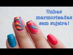 Unhas Marmorizadas sem sujeira - Water Marble Nails - YouTube