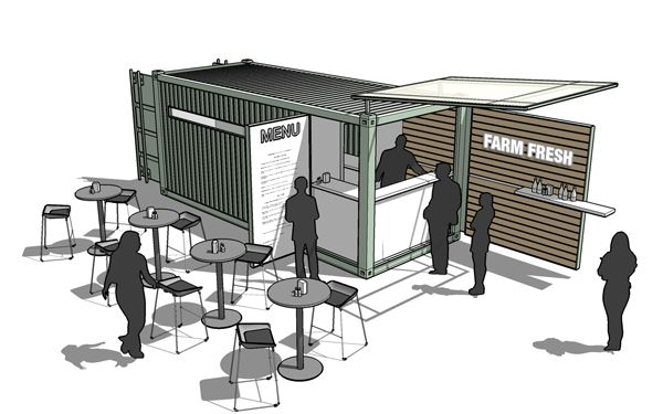 This is a freaking cool idea! Boxman Café, modified shipping containers, customized shipping containers, custom shipping containers, rendering