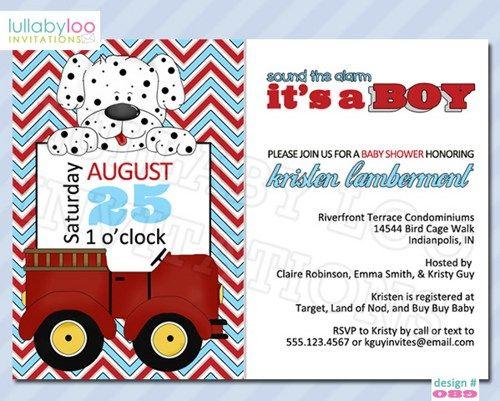 Fireman Baby Shower Invitations (089) | lullabyloo - Cards on ArtFire